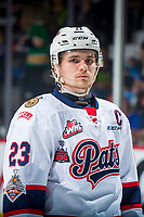 REGINA, SK - MAY 23: Sam Steel #23 of the Regina Pats stands at center ice against the Swift Current Broncos at the Brandt Centre on May 23, 2018 in Regina, Canada. (Photo by Marissa Baecker/CHL Images)