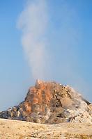 White Dome Geyser erupting, Yellowstone National Park