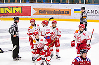 2020-01-19 | Umeå, Sweden:Vallentuna reduce to 5-1 by Vallentuna (17) Marcus Andersson in AllEttan during the game  between Teg and Vallentuna at A3 Arena ( Photo by: Michael Lundström | Swe Press Photo )<br /> <br /> Keywords: Umeå, Hockey, AllEttan, A3 Arena, Teg, Vallentuna, mltv200119, happy happiness celebration celebrates