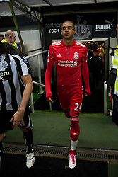 NEWCASTLE, ENGLAND - Saturday, December 11, 2010: Liverpool's David Ngog walks out before the Premiership match against Newcastle United at St James' Park. (Photo by: David Rawcliffe/Propaganda)