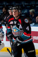 KELOWNA, CANADA - SEPTEMBER 24: Gordie Ballhorn #4 of the Kelowna Rockets warms up against the Kamloops Blazers on September 24, 2016 at Prospera Place in Kelowna, British Columbia, Canada.  (Photo by Marissa Baecker/Shoot the Breeze)  *** Local Caption *** Gordie Ballhorn;