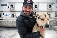 Dog sled musher Lance Mackey and his lead dog, Cyclone.