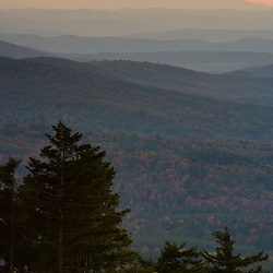 Sunset from the summit of Silver Mountain in Lempster, New Hampshire.
