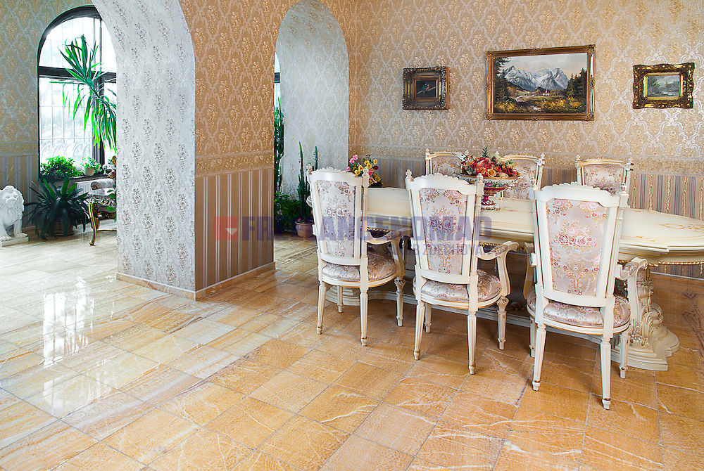 Yellow Golden Polished Marble Natural stone dining room flooring interior project realization