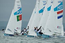 2012 Olympic Games London / Weymouth<br /> 470 Training race<br /> Marinho Alvaro, Nunes Miguel, (POR, 470 Men)<br /> Coster Kalle, Coster Sven, (NED, 470 Men)
