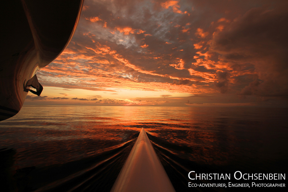 Sometimes you cannot believe what you see. Luckily I had my camera to shoot this instant. In complete silence the world's largest solar boat was sailing through the Indian Ocean. I decided to go outside to the edge of the starboard floater where I sat and enjoyed this amazing sunset.