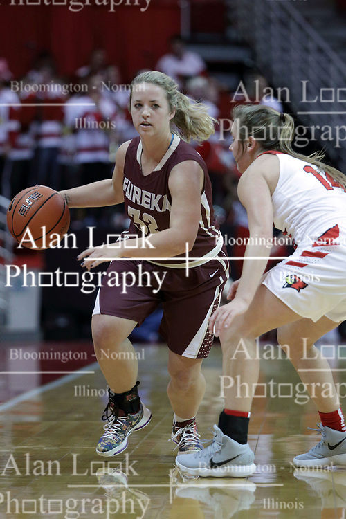 01 November 2017:  Kerrigan Dura guarded by Paige Saylor during a Exhibition College Women's Basketball game between Illinois State University Redbirds the Red Devils of Eureka College at Redbird Arena in Normal Illinois.