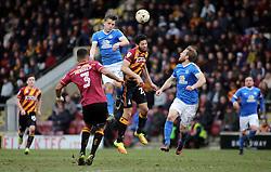 Tom Nichols of Peterborough United out jumps Nat Knight-Percival of Bradford City - Mandatory by-line: Joe Dent/JMP - 04/03/2017 - FOOTBALL - Coral Windows Stadium - Bradford, England - Bradford City v Peterborough United - Sky Bet League One