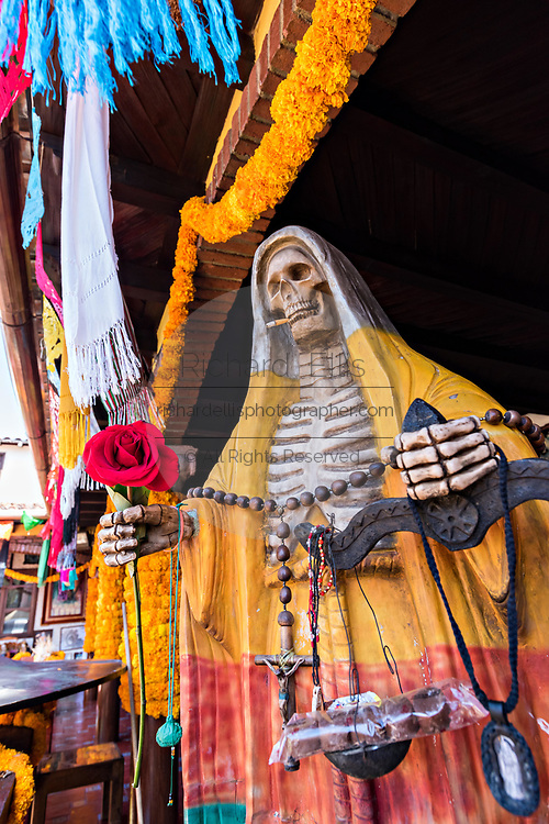Statue of Santa Muerte at the La Casa De La Santa Muerte or House of the Saint of the Dead November 1, 2017 in Santa Ana Chapitiro, Michoacan, Mexico.