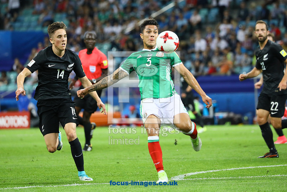 Carlos Salcedo of Mexico and Ryan Thomas of New Zealand during the 2017 FIFA Confederations Cup match at Fisht Stadium, Sochi<br /> Picture by EXPA Pictures/Focus Images Ltd 07814482222<br /> 22/06/2017<br /> *** UK &amp; IRELAND ONLY ***<br /> <br /> EXPA-EIB-170622-0055.jpg