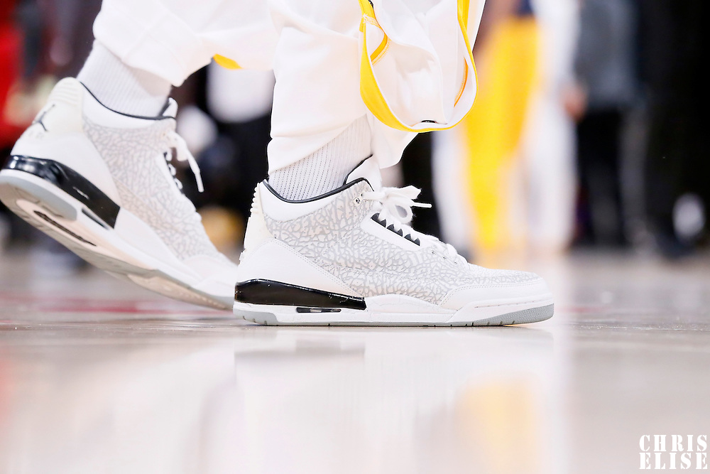 04 January 2014:  Close view of Los Angeles Lakers forward Nick Young (0) shoes prior to the Los Angeles Lakers 88-87 victory over the Indiana Pacers, at the Staples Center, Los Angeles, California, USA.