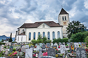 Appenzell's Roman Catholic St. Maurice (or Mauritius) parish church was built 1560–84. Adlerplatz is the heart of Appenzell village, in Switzerland, Europe. Most of the notable buildings in Appenzell were built in the 1500s. Appenzell Innerrhoden is Switzerland's most traditional and smallest-population canton (second smallest by area).