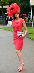 © licensed to London News Pictures.16/06/2011. Ascot, UK.  Jackie St Claire at Ladies day at Royal Ascot races today (16/06/2011). The 5 day showcase event is one of the highlights of the racing calendar. Horse racing has been held at the famous Berkshire course since 1711 and tradition is a hallmark of the meeting. Top hats and tails remain compulsory in parts of the course. Photo credit should read: Ben Cawthra/LNP