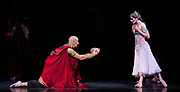 La Bayadere <br /> A ballet in three acts <br /> Choreography by Natalia Makarova <br /> After Marius Petipa <br /> The Royal Ballet <br /> At The Royal Opera House, Covent Garden, London, Great Britain <br /> General Rehearsal <br /> 30th October 2018 <br /> <br /> STRICT EMBARGO ON PICTURES UNTIL 2230HRS ON THURSDAY 1ST NOVEMBER 2018 <br /> <br /> Marianela Nunez as Nikiya <br /> A Bayadere and a temple dancer <br /> <br /> <br /> Gary Avis as The High Brahmin <br /> <br /> <br /> <br /> Photograph by Elliott Franks Royal Ballet's Live Cinema Season - La Bayadere is being screened in cinemas around the world on Tuesday 13th November 2018 <br />