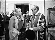 Honorary Degree For Joan Denise Moriarty.    (M65)..1979..05.04.1979..04.05.1979..5th April 1979..Joan Denise Moriarty, was an Irish ballet dancer, choreographer, teacher of ballet, and traditional Irish dancer and musician. She was the founder of professional ballet in Ireland. Her achievements were rewarded by the conferring of an honorary degree at University College ,Cork...Image shows members of the faculty at the ceremony at UCC.