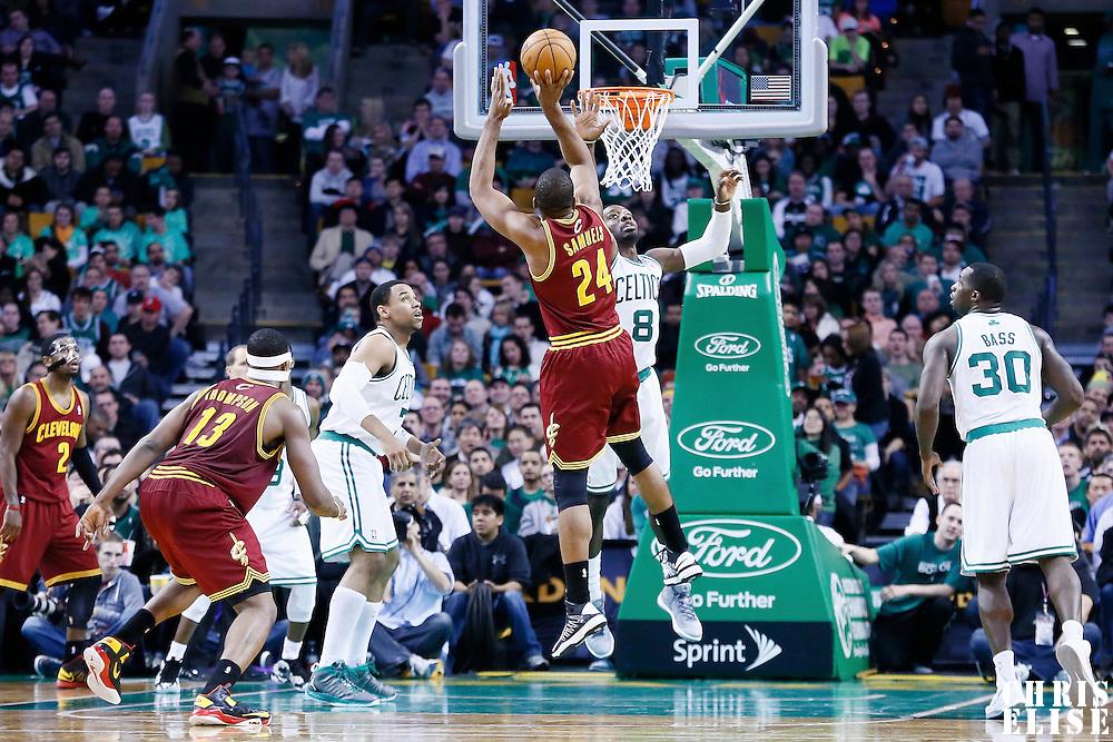 19 December 2012: Cleveland Cavaliers power forward Samardo Samuels (24) takes a jumpshot over Boston Celtics power forward Jeff Green (8) during the Boston Celtics 103-91 victory over the Cleveland Cavaliers at the TD Garden, Boston, Massachusetts, USA.