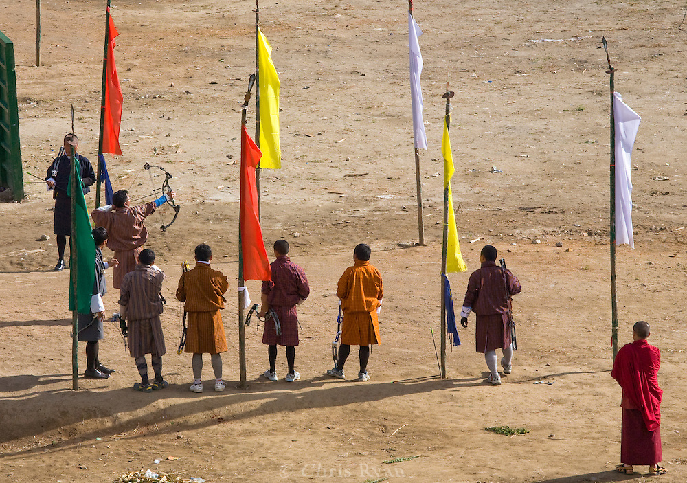 Men in an archery competition, Thimphu, Bhutan.  Archery is Bhutan's national sport.