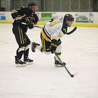 5th year forward Ian McNulty (14) of the Regina Cougars in action during the Men's Hockey home game on November 11 at Co-operators arena. Credit: Arthur Ward/Arthur Images