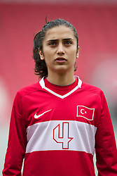 LLANELLI, WALES - Thursday, March 31, 2011: Turkey's Emine Demir lines-up before the UEFA European Women's Under-19 Championship Second Qualifying Round (Group 3) match against Iceland at Parc Y Scarlets. (Photo by David Rawcliffe/Propaganda)