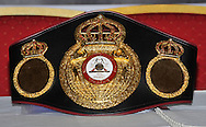 Picture by Alan Stanford/Focus Images Ltd +44 7915 056117<br />03/10/2013<br />The WBA Championship belt pictured during a Matchroom Sports press conference at International Hotel, Canary Wharf, London.