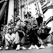 UK rapper Silver Bullet and posse, London, UK, 1988
