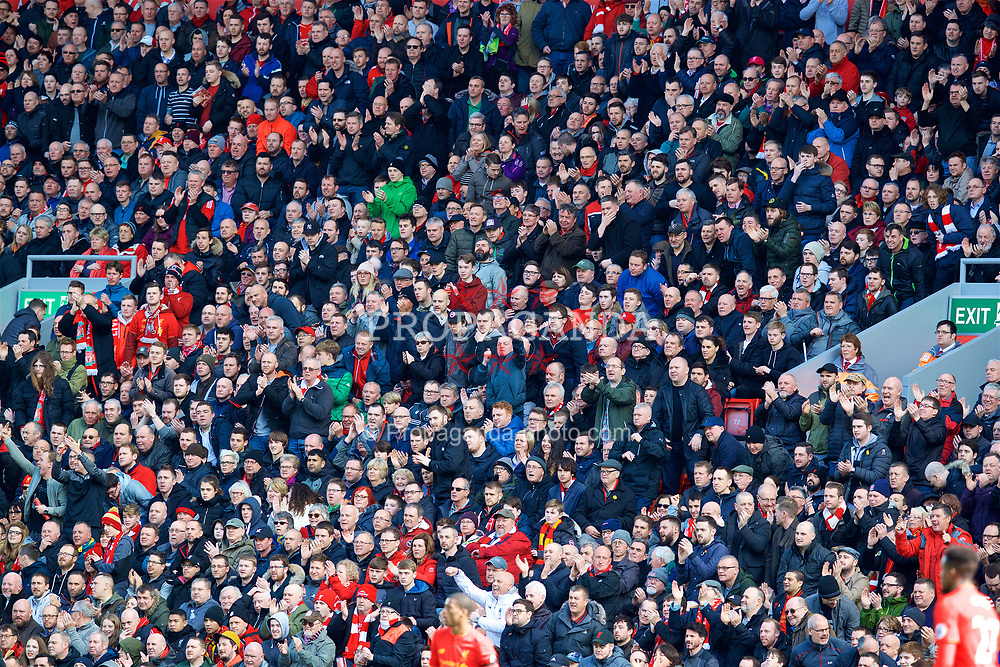 LIVERPOOL, ENGLAND - Saturday, April 1, 2017: Liverpool supporters during the FA Premier League match against Everton, the 228th Merseyside Derby, at Anfield. (Pic by David Rawcliffe/Propaganda)