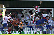 Nationwide Div 2 - Brentford v Hartlepool..Brentford's Ibrahima Sonko climbs above the defence to score the first goal, © Peter Spurrier/Intersport-Images, email images@intersport-images.com. Mob +447973819551
