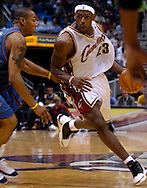 MORNING JOURNAL/DAVID RICHARD.LeBron James drives to the basket against Washington last night in the fourth quarter.