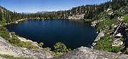 Panoramic image of Angora Lakes and Angora Lakes Resort in South Lake Tahoe
