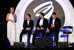 IBF Bantamweight World Champion Lee Haskins and Jamie and Chris Sanigar from Bristol Boxing Gym join Lisa Knights on stage at Bristol Sport's Annual Gala Dinner at Ashton Gate Stadium - Mandatory byline: Rogan Thomson/JMP - 08/12/2015 - SPORT - Ashton Gate Stadium - Bristol, England.