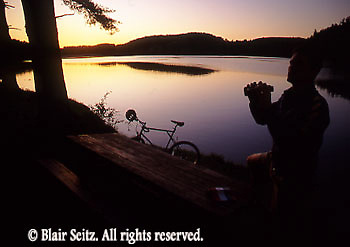 PA landscapes Biking in PA Bicycling, Young Male, PA Lake Sunset