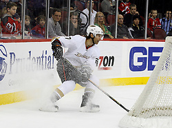 February 8, 2008; Newark, NJ, USA;  Anaheim Ducks defenseman Scott Niedermayer (27) pulls up behind his goal during the second period at the Prudential Center in Newark, NJ.