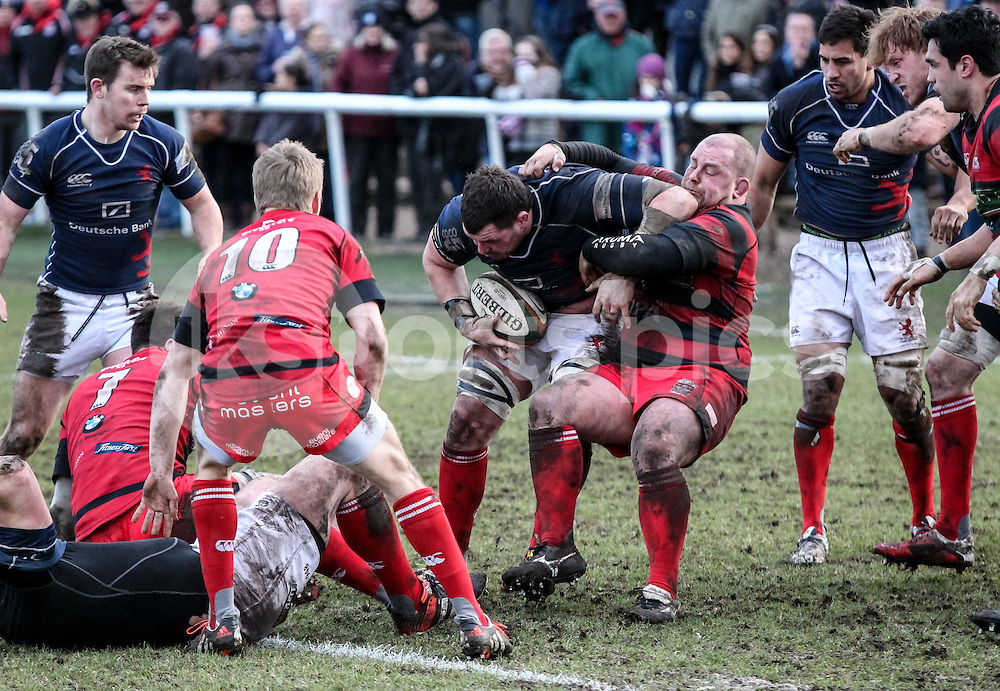 James Phillips in action during the Green King IPA Championship match between London Scottish &amp; Moseley at Richmond, Greater London on 21st February 2015<br /> <br /> Photo: Ken Sparks | UK Sports Pics Ltd<br /> London Scottish v Moseley, Green King IPA Championship, 21st February 2015<br /> <br /> &copy; UK Sports Pics Ltd. FA Accredited. Football League Licence No:  FL14/15/P5700.Football Conference Licence No: PCONF 051/14 Tel +44(0)7968 045353. email ken@uksportspics.co.uk, 7 Leslie Park Road, East Croydon, Surrey CR0 6TN. Credit UK Sports Pics Ltd