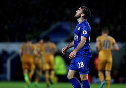 Christian Fuchs of Leicester City cuts a dejected figure after his side concede a fourth goal to Tottenham Hotspur - Mandatory by-line: Robbie Stephenson/JMP - 18/05/2017 - FOOTBALL - King Power Stadium - Leicester, England - Leicester City v Tottenham Hotspur - Premier League
