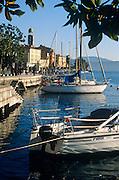 Boats moored at Salo on Lake Garda, Lombardy, Italy