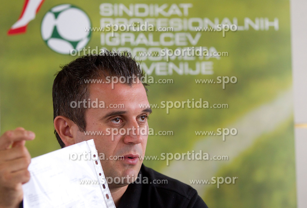 Dejan Stefanovic at press conference of SPINS - Sindikat profesionalnih igralcev nogometa Slovenije, on September 22, 2011, in TC Ljubljana Siska, Slovenia. (Photo by Vid Ponikvar / Sportida)