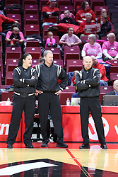 NORMAL, IL - February 10: Lindsey VanDyken, Charlie Hust, Scott Doberstein during a college women's basketball Play4Kay game between the ISU Redbirds and the Indiana State Sycamores on February 10 2019 at Redbird Arena in Normal, IL. (Photo by Alan Look)