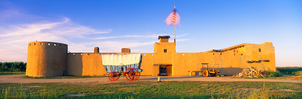 0401-1000 ~ Copyright: George H.H. Huey ~ Sunrise at Bent's Fort, Bent's Old Fort National Historic Site.  Original fort was built in 1833 as a trading headquarters along the Santa Fe Trail.  Southwest Colorado.