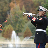 Master Gunnery Sergeant Bob Verell plays TAPS Sunday at the Veterans Day Ceremony held at Veterans Park