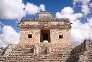 Mexico – Jan 16 2007: Temple of the Sun or Seven Dolls from Sacbe 1 at Dzibilchaltún Mayan archaeological  site near Merida