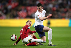 England's Declan Rice (right) and Czech Republic's Matej Vydra battle for the ball during the UEFA Euro 2020 Qualifying, Group A match at Wembley Stadium, London.