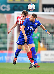 Lincoln City's Luke Anderson vies for possession with Leicester City's Calvin Bassey<br /> <br /> Lincoln City under 18s Vs Leicester City under 18s at Sincil Bank, Lincoln.<br /> <br /> Picture: Chris Vaughan/Chris Vaughan Photography<br /> <br /> Date: July 28, 2016