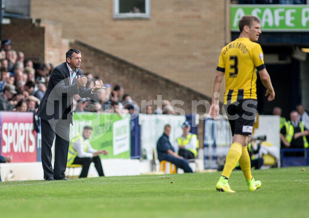 Southend Utd Manager Phil Brown during the Sky Bet League 2 match between Southend United and Shrewsbury Town at Roots Hall, Southend, England on 27 September 2014. Photo by Liam McAvoy.