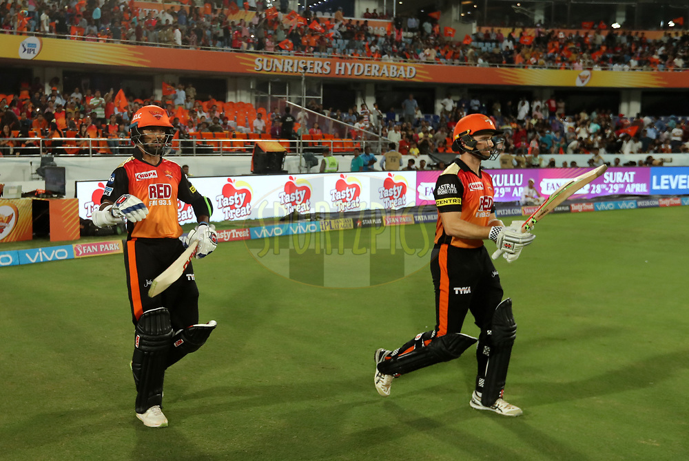 Shikhar Dhawan and Kane Williamson captain of Sunrisers Hyderabad  during match twenty five of the Vivo Indian Premier League 2018 (IPL 2018) between the Sunrisers Hyderabad and the Kings XI Punjab  held at the Rajiv Gandhi International Cricket Stadium in Hyderabad on the 26th April 2018.<br /> <br /> Photo by: Prashant Bhoot /SPORTZPICS for BCCI