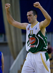 Jasmin Hukic of Olimpija celebrates at third finals basketball match of Slovenian Men UPC League between KK Union Olimpija and KK Helios Domzale, on June 2, 2009, in Arena Tivoli, Ljubljana, Slovenia. Union Olimpija won 69:58 and became Slovenian National Champion for the season 2008/2009. (Photo by Vid Ponikvar / Sportida)
