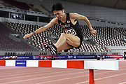 Kazuya Shiojiri (JPN) places third in the steeplechase in 8:32.25 during the Asian Athletics Championships in Doha, Qatar, Saturday, April,21, 2019. (Jiro Mochizuki/Image of Sport)
