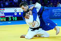 Warsaw, Poland - 2017 April 20: Nijat Shikhalizada from Azerbaijan (white) throws Adrian Gomboc from Slovenia (blue) while the men&iacute;s 66kg semifinal during European Judo Championships 2017 at Torwar Hall on April 20, 2017 in Warsaw, Poland.<br /> <br /> Mandatory credit:<br /> Photo by &copy; Adam Nurkiewicz / Mediasport / Sportida<br /> <br /> Adam Nurkiewicz declares that he has no rights to the image of people at the photographs of his authorship.<br /> <br /> Picture also available in RAW (NEF) or TIFF format on special request.<br /> <br /> Any editorial, commercial or promotional use requires written permission from the author of image.