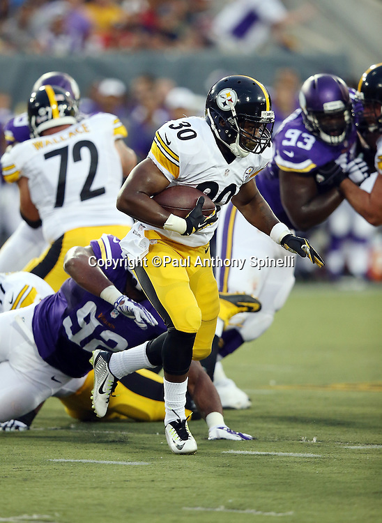 Pittsburgh Steelers rookie running back Cameron Stingily (30) runs the ball in the first quarter during the 2015 NFL Pro Football Hall of Fame preseason football game against the Minnesota Vikings on Sunday, Aug. 9, 2015 in Canton, Ohio. The Vikings won the game 14-3. (©Paul Anthony Spinelli)