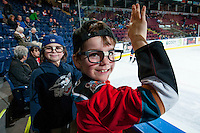 KELOWNA, CANADA - MARCH 14: A pair of young fans dress as the Hanson brothers as the Kelowna Rockets take on the Kamloops Blazers on March 14, 2015 at Prospera Place in Kelowna, British Columbia, Canada.  (Photo by Marissa Baecker/Shoot the Breeze)  *** Local Caption *** fans