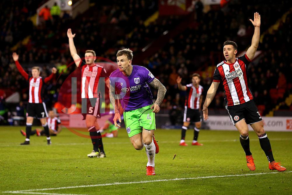 Aden Flint of Bristol City celebrates scoring a goal to make it 2-1 - Mandatory by-line: Robbie Stephenson/JMP - 08/12/2017 - FOOTBALL - Bramall Lane - Sheffield, England - Sheffield United v Bristol City - Sky Bet Championship